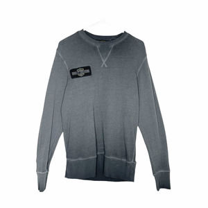 Harley Davidson Men's Embroidered Logo Pullover Sweatshirt Top Gray Size Small